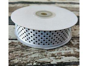 Stuha puntík, 25 mm, bílá
