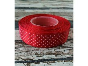 Stuha puntík, 25 mm, červená