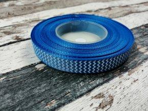 Rypsová stuha cikcak modrá