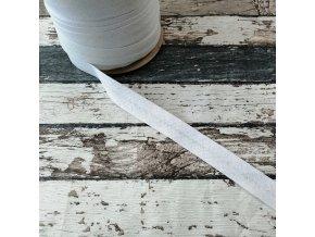 Bavlněný šikmý proužek, bílý, 12 mm