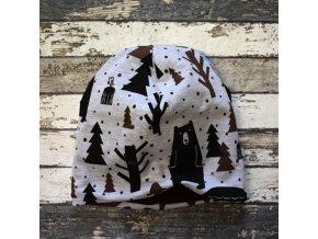 Šmoulí čepička Yháček, oboustranná, medvěd v lese, flís