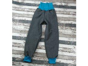 Softshellové kalhoty Yháček, zimní, žíhané, šedá/tyrkys