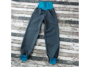 Softshellové kalhoty Yháček, podzim, šedá/tyrkys