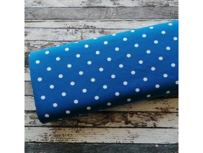 Úplet puntíky velké na tyrkysově modré