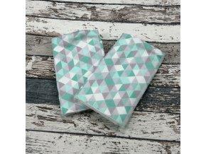 Chrániče popruhů na nosítko Yháček (slintáčky), trojúhelníčky mint