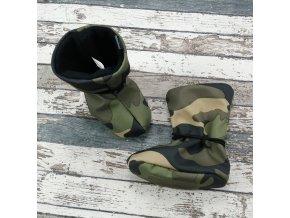 Nosicí botičky - válenky Yháček, flís, maskáč zelený