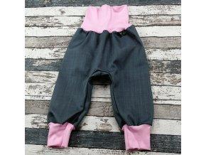 Softshellové kalhoty Yháček, podzim, šedá/světle růžová