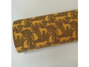 Teplákovina počesaná, leopard na hořčicové