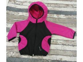 Softshellová bunda Yháček, zimní, černá/růžová