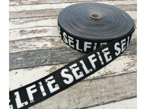 Hladká pruženka na boxerky Selfie na černé