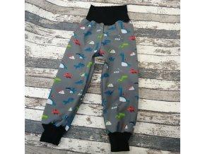 Zimní softshellové kalhoty Yháček, dinosauři na šedé