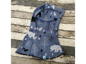Kukla jednovrstvá Yháček, lesní zvěř na modrém melíru