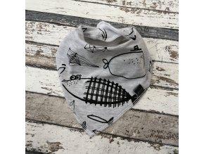 Slintáček s nákrčníkem Yháček, ryby na šedé
