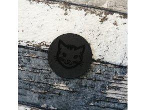 Štítek z ekokůže kulatý, antracit, kočka