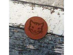Štítek z ekokůže kulatý, hnědý, kočka