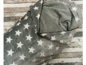 Fleece medvídek, hvězdy na šedé