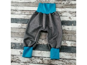 Softshellové kalhoty Yháček, letní, šedý melír/tyrkys