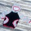 Softshellová bunda Yháček, zimní, černá/hvězdičky na bílé/červená