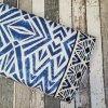 Viskóza úplet, modré ornamenty