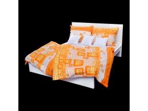 Ložní povlečení krepové káro oranžové (LS142)