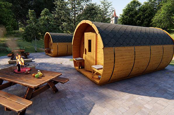 Dřevěné chaty a zahradní domky v designu sudu