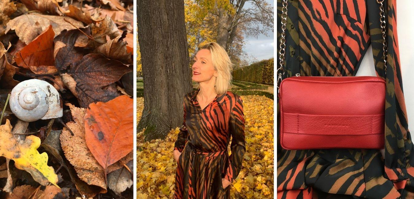 Saténové košilové šaty v barvách podzimu, kožená kabelka červená metaličká s řetízkem