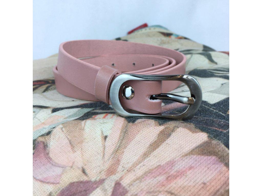 Pásek kožený 20 mm jemně růžový