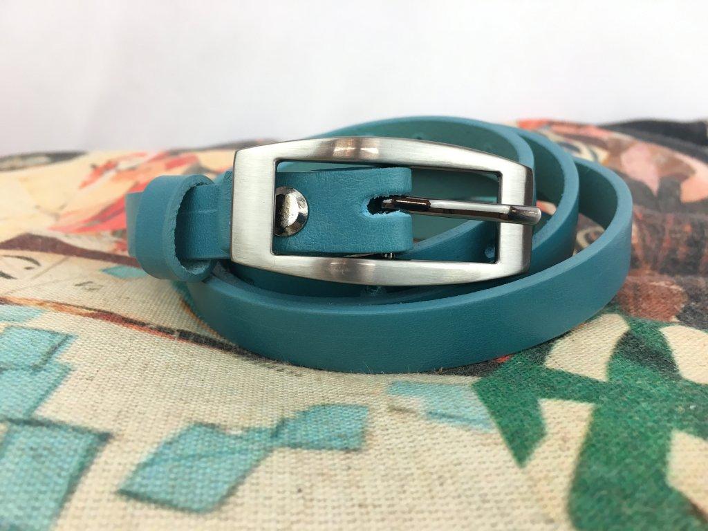 Pásek kožený 1,5 cm modrý
