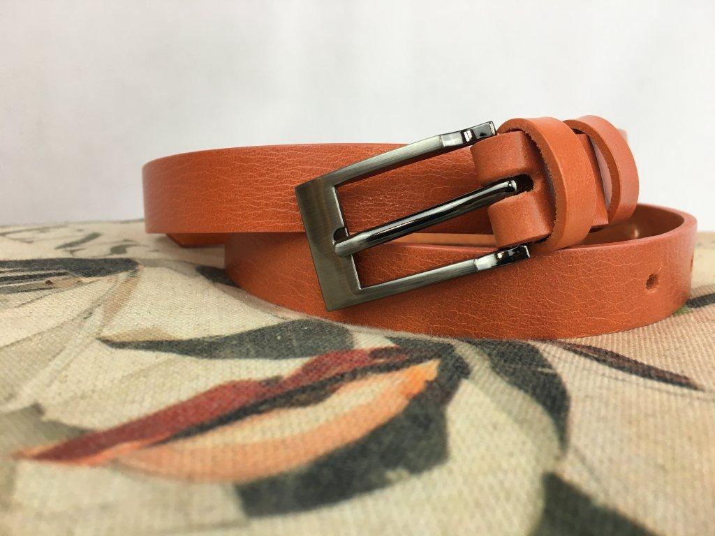 Pásek kožený 20 mm oranžový