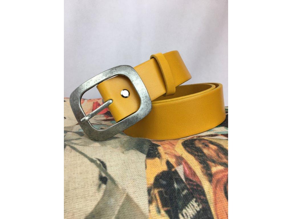 Pásek kožený žlutý Jeans