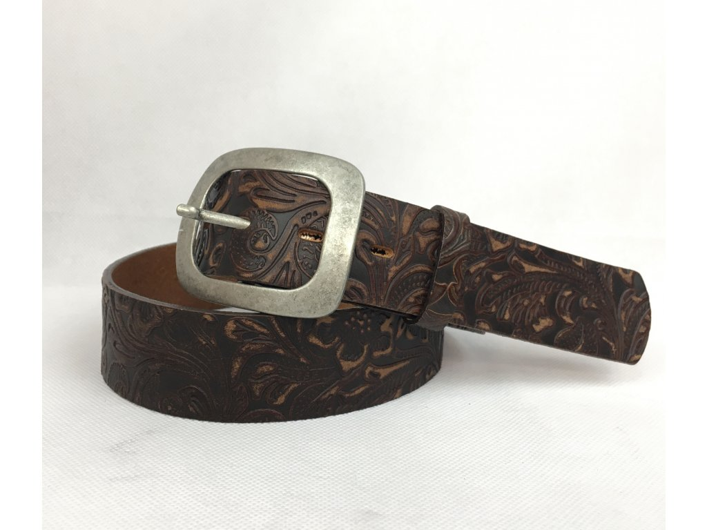 Pásek kožený hnědý se vzorem