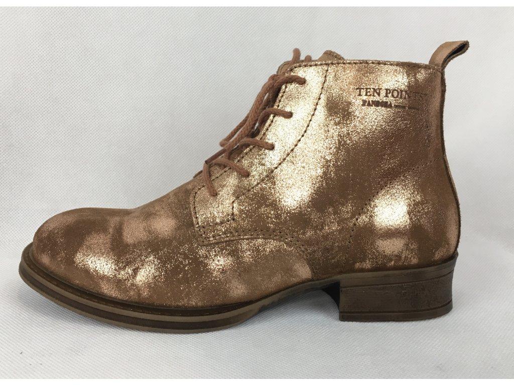 Ten Points kotníčkové boty bronzové