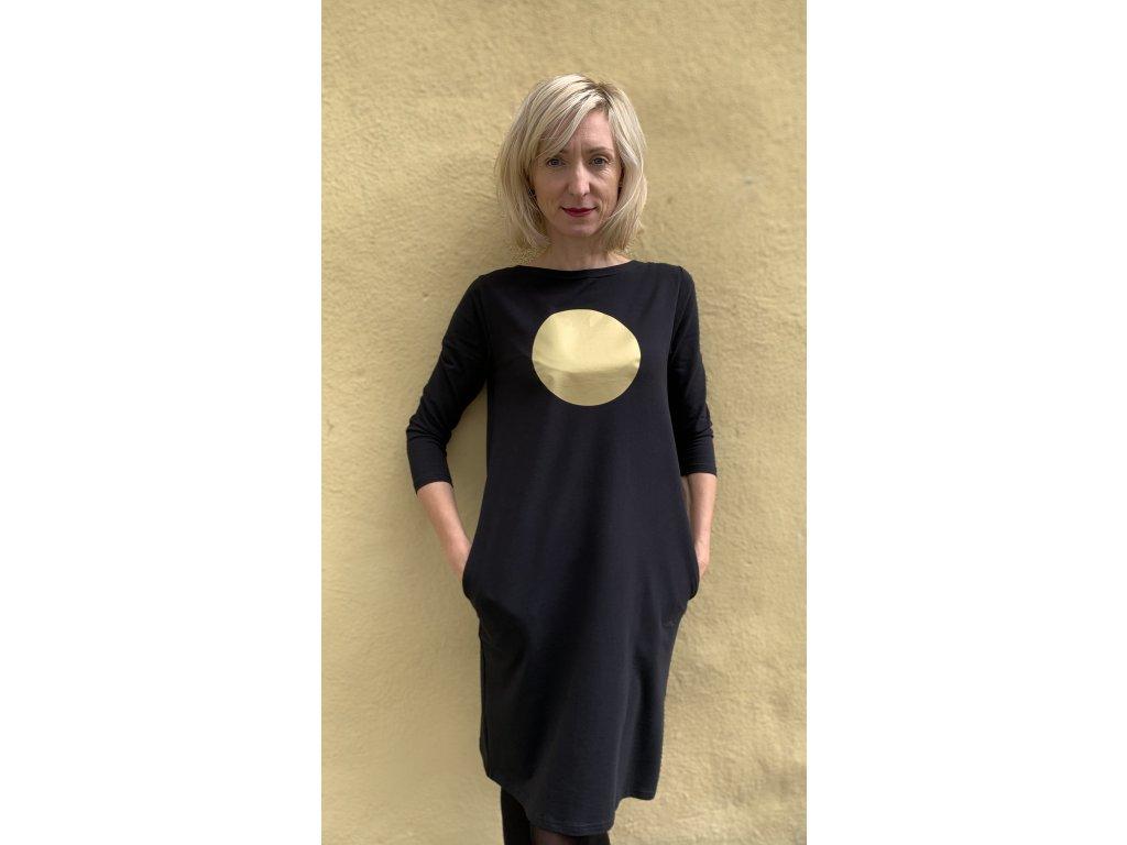 Šaty Mikela da Luka, černé, zlaté kolo