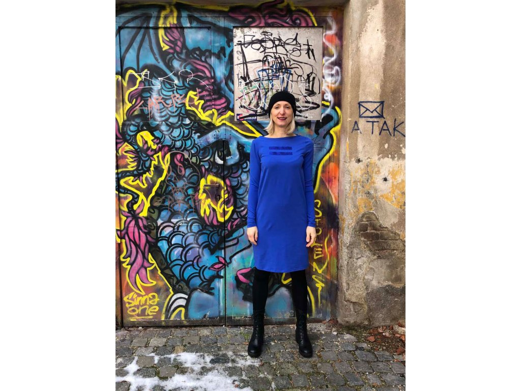 "Šaty Mikela da Luka, modré, glitr ""rovná se"""