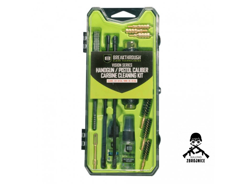 breakthrough vision series pistol carbine cleaning kit 9mm 40 45 cal
