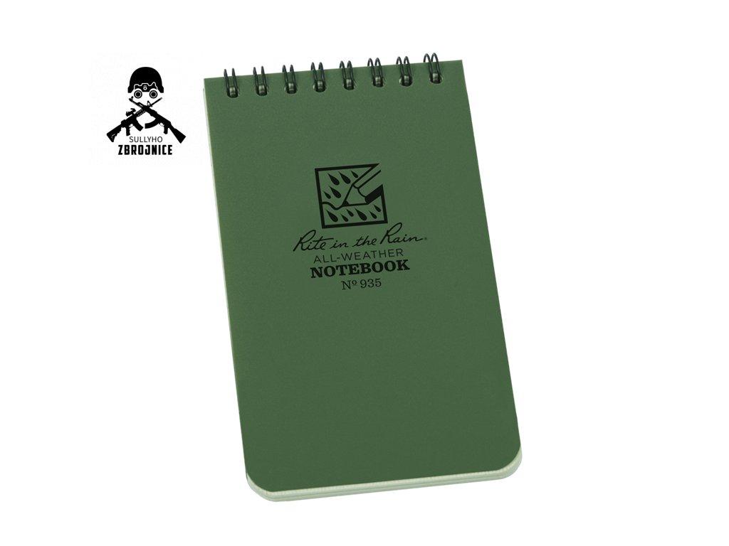 Voděodolný zápisník Rite in the Rain Pocket Notebook 3/5 - zelený