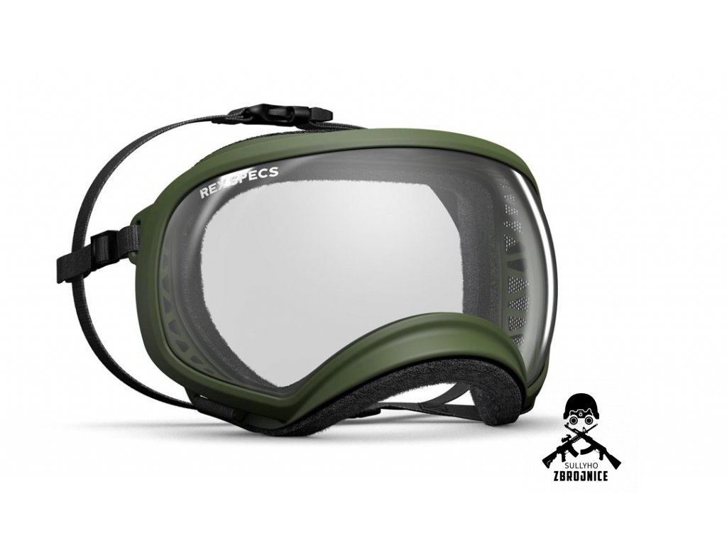 Rex Specs Hundebrille XL army green clear