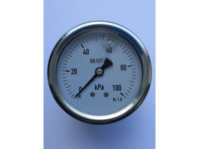 Manometr otřesuvzdorný plněný glycerinem pr.63mm, zadní M12x1,5, 0-100 kPa