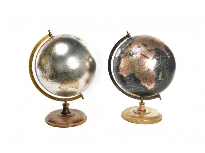 129203 velky kovovy globus s drevenou zakladnou ruzne barvy 33x30xh42cm