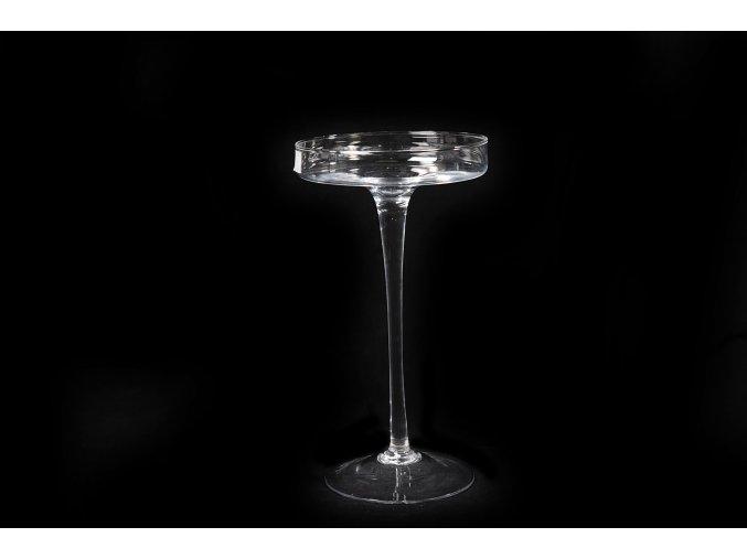 zvednutý svícen se skleněnou stopkou d. cm 15xh.27,5 (okraj cm 2,7)