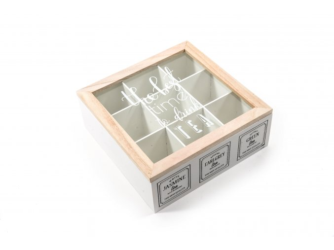 130781 earl grey drevena krabicka s 9 prihradkami 24x24xh 9cm
