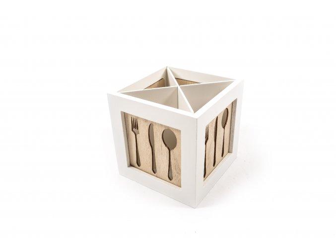 dřevěná krabička na příbory 14,5x14,5xh.14,5cm