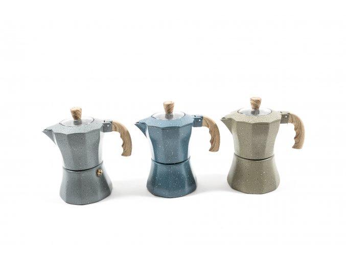 132140 moka kavovar v hlinik stone 3 salky 15x8xh 15 cm