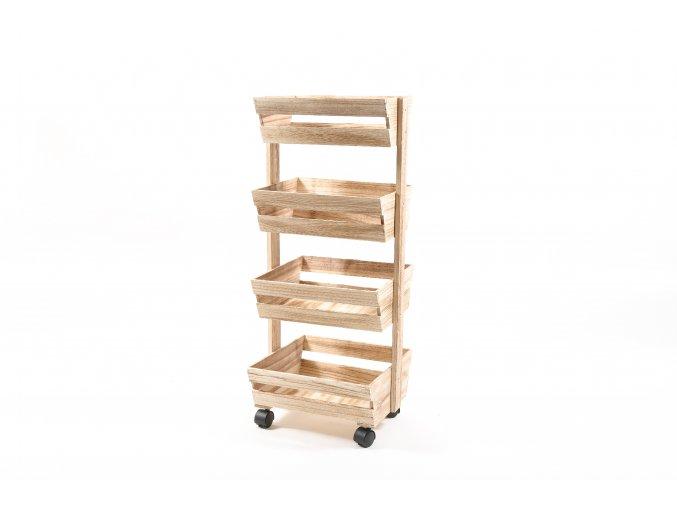 134831 vozik se 4 drevenymi policemi 84x35x35 cm