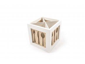 """""""kitchen"""" dřevěná krabička na příbory 14,5x14,5xh.14,5cm"""