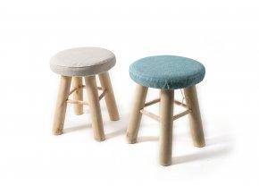 dřevěná stolička se sedákem v odnímatelné látce o průměru 28 x v. 34cm, různé barvy