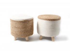 135344 sedadlo ze dreva a lana o prumeru 40 x vyska 40 cm