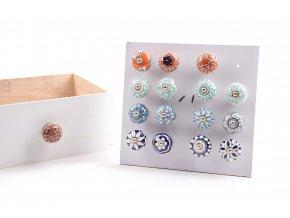 135545 keramicka uchytka s kovovymi castmi a rucne malovanymi dekoracemi d cm 4 5x6 5 ruzne dekorace