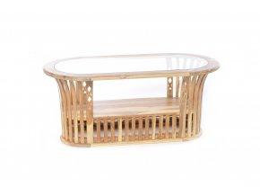 konferenční stolek z teakového dřeva se skleněnou deskou 115x50xh.44cm