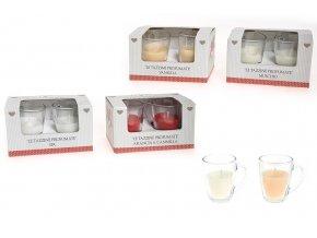 143396 sada 2 sklenenych salku kavy arabika s vonnym voskem gr 50 ruzne darkove krabicky